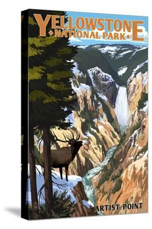 Yellowstone National Park - Artist Point and Elk-Lantern Press-Stretched Canvas Print