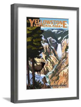 Yellowstone National Park - Artist Point and Elk-Lantern Press-Framed Premium Giclee Print