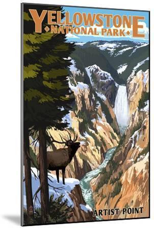 Yellowstone National Park - Artist Point and Elk-Lantern Press-Mounted Premium Giclee Print