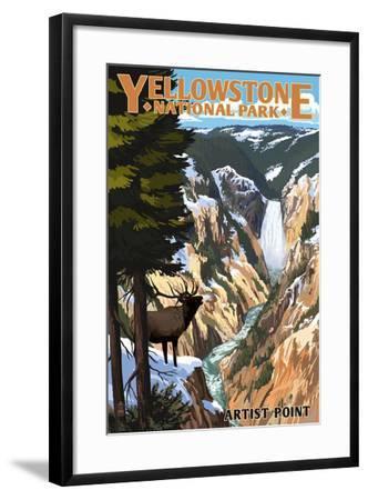Yellowstone National Park - Artist Point and Elk-Lantern Press-Framed Art Print