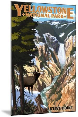 Yellowstone National Park - Artist Point and Elk-Lantern Press-Mounted Art Print