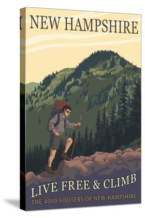 Ossipee Lake, New Hampshire - Live Free and Climb-Lantern Press-Stretched Canvas Print