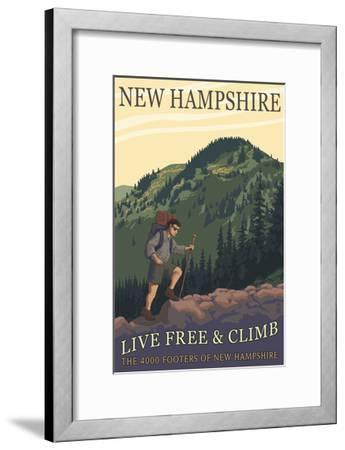 Ossipee Lake, New Hampshire - Live Free and Climb-Lantern Press-Framed Art Print