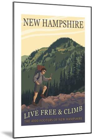 Ossipee Lake, New Hampshire - Live Free and Climb-Lantern Press-Mounted Art Print