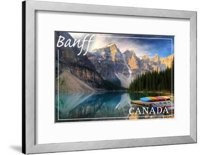 Banff, Canada - Moraine Lake Canoes-Lantern Press-Framed Art Print