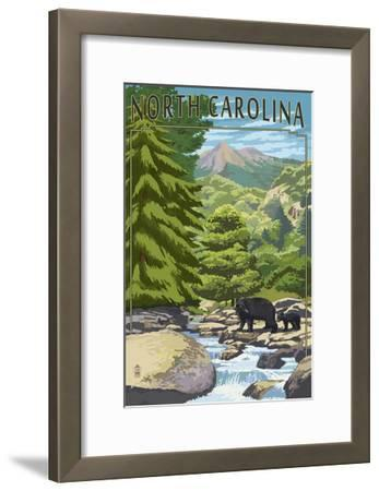 North Carolina - Bears and Creek-Lantern Press-Framed Art Print
