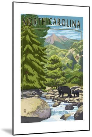 North Carolina - Bears and Creek-Lantern Press-Mounted Art Print