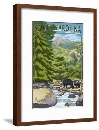 North Carolina - Bears and Creek-Lantern Press-Framed Art Print