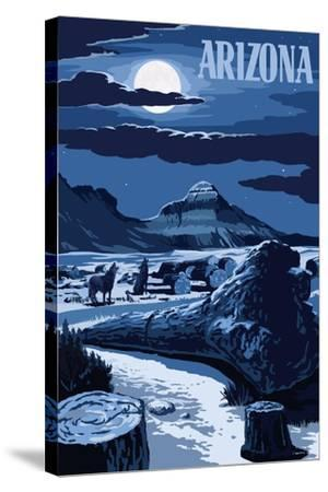 Arizona - Wolves and Full Moon at Night-Lantern Press-Stretched Canvas Print