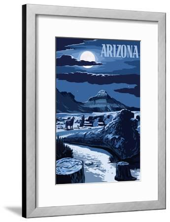 Arizona - Wolves and Full Moon at Night-Lantern Press-Framed Art Print