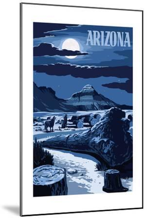 Arizona - Wolves and Full Moon at Night-Lantern Press-Mounted Art Print