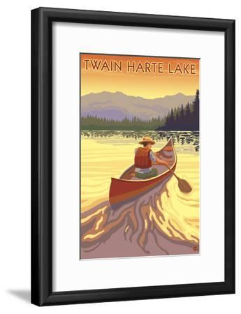 Twain Harte, California - Canoe Scene-Lantern Press-Framed Art Print