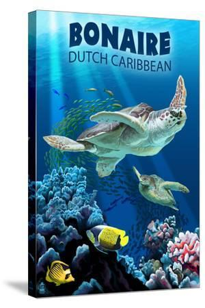 Bonaire, Dutch Caribbean - Sea Turtle Swimming-Lantern Press-Stretched Canvas Print