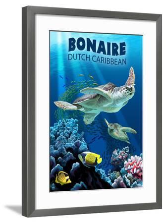 Bonaire, Dutch Caribbean - Sea Turtle Swimming-Lantern Press-Framed Art Print