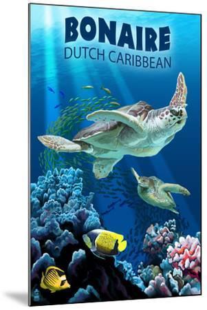 Bonaire, Dutch Caribbean - Sea Turtle Swimming-Lantern Press-Mounted Art Print