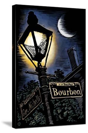 Bourbon Street - New Orleans, Louisiana - Scratchboard-Lantern Press-Stretched Canvas Print