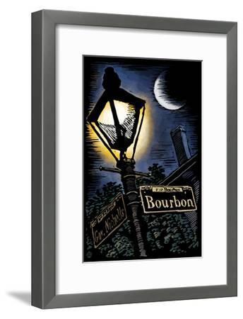 Bourbon Street - New Orleans, Louisiana - Scratchboard-Lantern Press-Framed Art Print