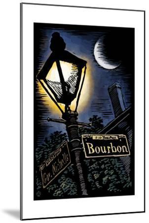 Bourbon Street - New Orleans, Louisiana - Scratchboard-Lantern Press-Mounted Art Print