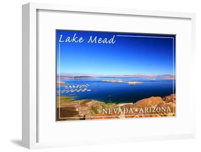 Lake Mead, Nevada - Arizona - Marina View-Lantern Press-Framed Art Print