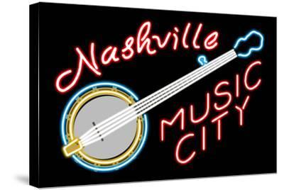 Nashville, Tennesse - Neon Banjo Sign-Lantern Press-Stretched Canvas Print