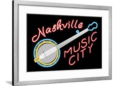 Nashville, Tennesse - Neon Banjo Sign-Lantern Press-Framed Art Print