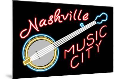 Nashville, Tennesse - Neon Banjo Sign-Lantern Press-Mounted Art Print