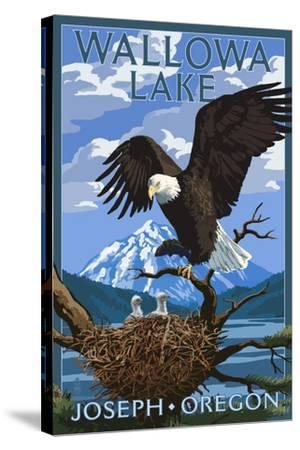 Joseph, Oregon - Wallowa Lake Eagle and Chicks-Lantern Press-Stretched Canvas Print
