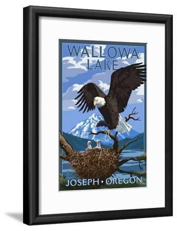 Joseph, Oregon - Wallowa Lake Eagle and Chicks-Lantern Press-Framed Art Print