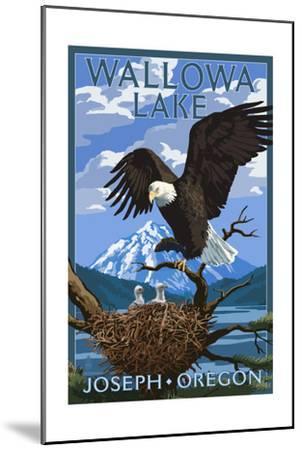 Joseph, Oregon - Wallowa Lake Eagle and Chicks-Lantern Press-Mounted Art Print