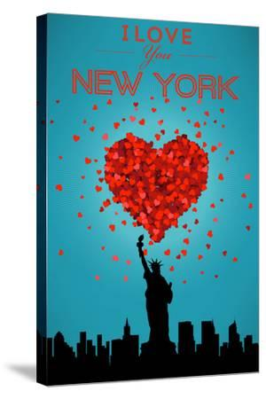 I Love You New York City, NY-Lantern Press-Stretched Canvas Print