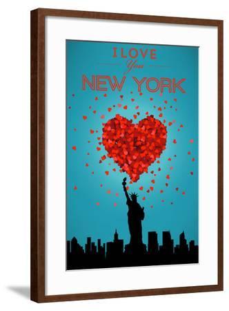 I Love You New York City, NY-Lantern Press-Framed Art Print