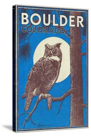 Boulder, Colorado - Horned Owl in the Moonlight - Vinatge Magazine Cover-Lantern Press-Stretched Canvas Print