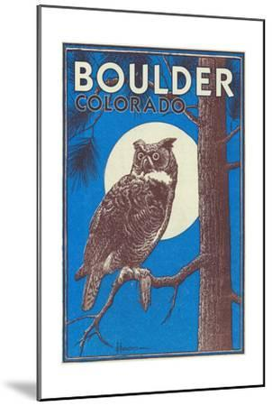 Boulder, Colorado - Horned Owl in the Moonlight - Vinatge Magazine Cover-Lantern Press-Mounted Art Print