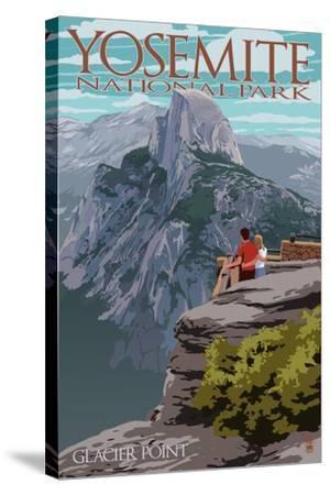Yosemite National Park, California - Glacier Point and Half Dome-Lantern Press-Stretched Canvas Print