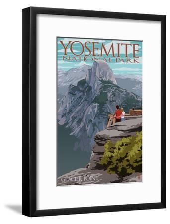 Yosemite National Park, California - Glacier Point and Half Dome-Lantern Press-Framed Art Print