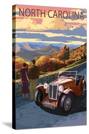 North Carolina - Sunset Mountain View-Lantern Press-Stretched Canvas Print