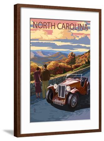North Carolina - Sunset Mountain View-Lantern Press-Framed Art Print