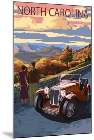 North Carolina - Sunset Mountain View-Lantern Press-Mounted Art Print