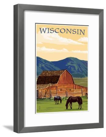 Wisconsin - Red Barn and Horses-Lantern Press-Framed Art Print