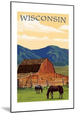 Wisconsin - Red Barn and Horses-Lantern Press-Mounted Art Print