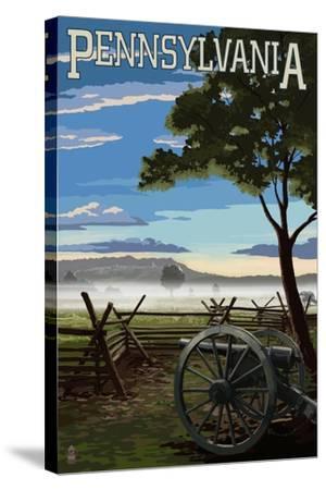 Pennsylvania - Military Park-Lantern Press-Stretched Canvas Print
