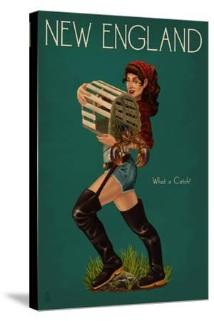 New England - Lobster Fishing Pinup-Lantern Press-Stretched Canvas Print