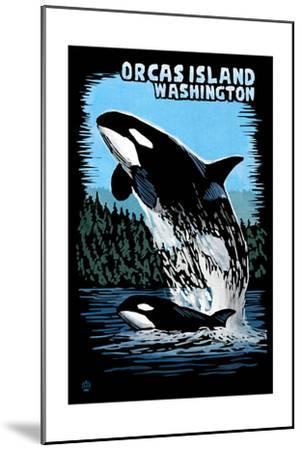 Orcas Island, Washington - Orca and Calf Scratchboard-Lantern Press-Mounted Art Print