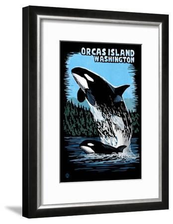 Orcas Island, Washington - Orca and Calf Scratchboard-Lantern Press-Framed Art Print