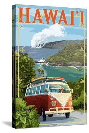 Hawaii - VW Van Cruise-Lantern Press-Stretched Canvas Print