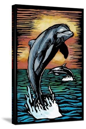 Dolphins - Scratchboard-Lantern Press-Stretched Canvas Print