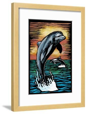 Dolphins - Scratchboard-Lantern Press-Framed Art Print