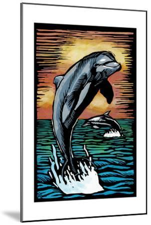 Dolphins - Scratchboard-Lantern Press-Mounted Art Print