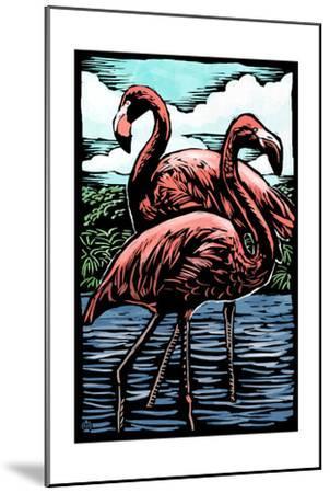 Flamingos - Scratchboard-Lantern Press-Mounted Art Print