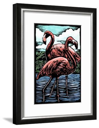 Flamingos - Scratchboard-Lantern Press-Framed Art Print